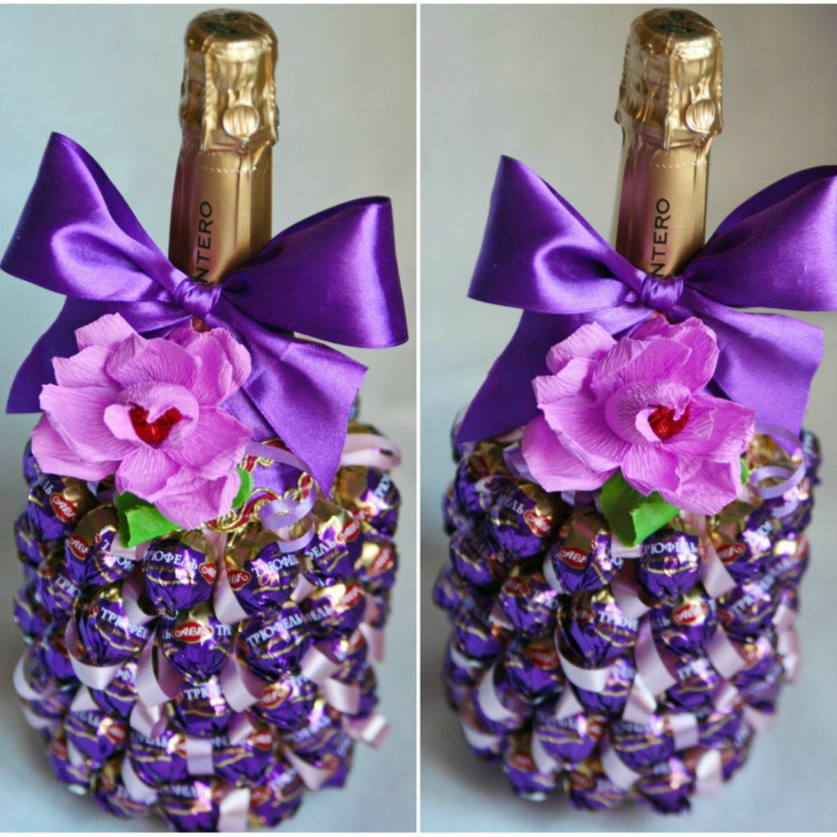 Как украсить бутылку шампанского на Новый год, свадьбу, День 96